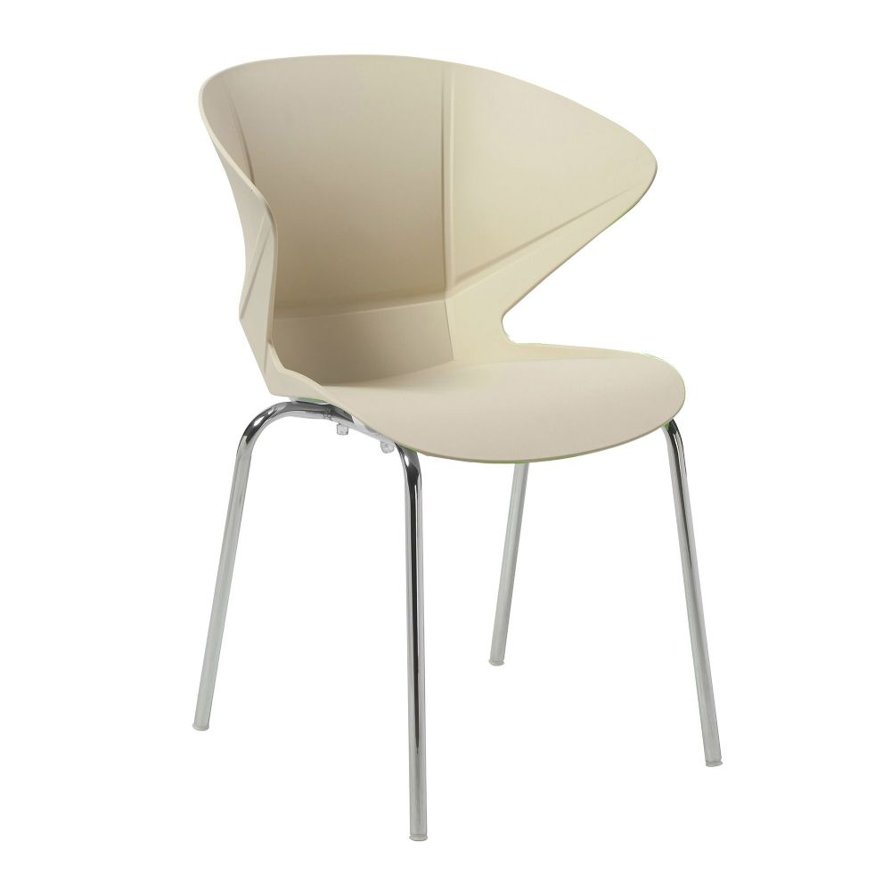 Cappuccino TWO Stylish lightweight and Stackable Poly Chair with a Chrome Frame in Cream